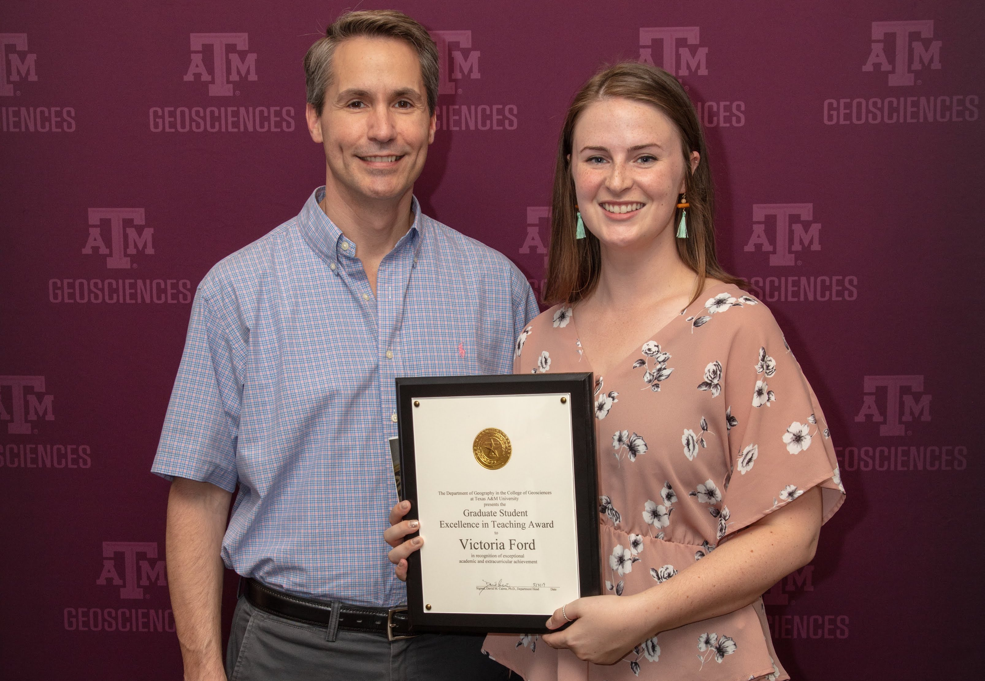 Dr. Frauenfeld and Victoria Ford at the 2019 graduation reception