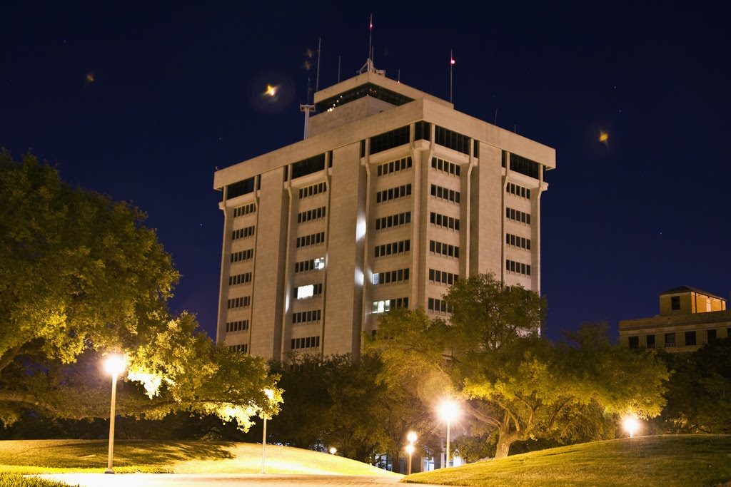 Eller O&M building at night